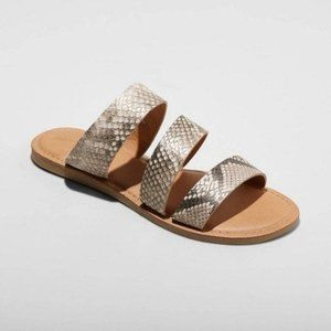 Women's Sammi Faux Leather Slide Sandals - Gray